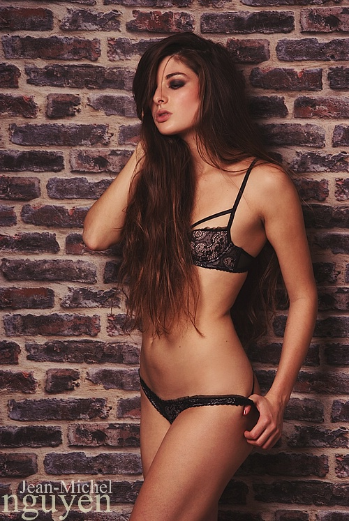 Alessandra Velia Lingerie Against The Wall